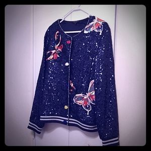 Alberto Makali Sequined/Embroidered Cardigan